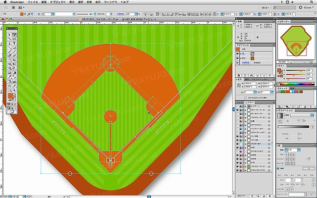 YAKYUJO.com,インタビュー,野球場の平面図,設計図,イラスト,図版,俯瞰図,野球場の描き方,作り方,野球場の制作風景,野球場のこだわり,好きな野球場