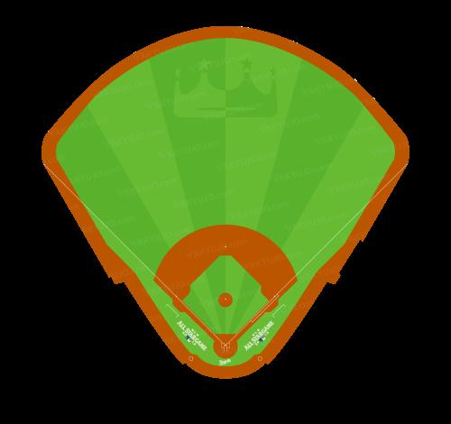カウフマン・スタジアム,特別仕様の芝デザイン,MLBオールスターゲーム2012の開催地,カンザスシティ・ロイヤルズ,左右対称の野球場,アメリカの野球場,メジャーの野球場,野球場のイラスト,Kauffman Stadium,YAKYUJO.com